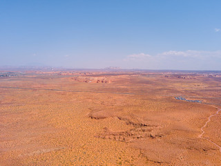 Aerial view of the parking field and a road right in front of the Arizona Horseshoe Bend near the town of Page
