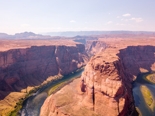 Amazing aerial view of the Colorado river Horse Shoe Bend during sunset, Page, AZ.