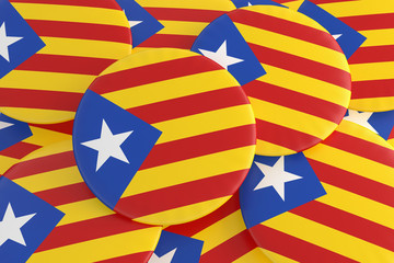 Pile of Estelada Blava Catalan Separatism Flag Buttons, Catalonia Independence News Concept, 3d illustration