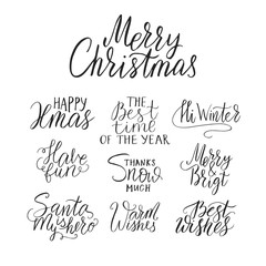 Merry Christmas lettering typography. Handwriting text design with winter handdrawn lettering. Happy New Year greeting vector card decoration.