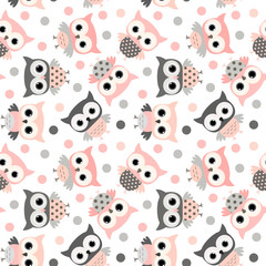 Cute pink and grey cartoon owls seamless pattern for kids and babies designs, invitations and clothing