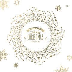 Christmas background with snowflakes and simple Merry Christmas text - golden version