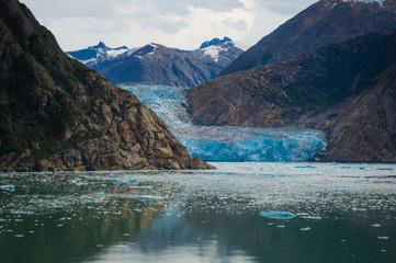 Closeup of base of Sawyer Glacier at Tracy Arm Fjord, Alaska