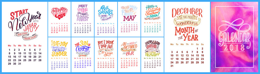 Vector calendar for months 2 0 1 8. Hand drawn lettering quotes for calendar design