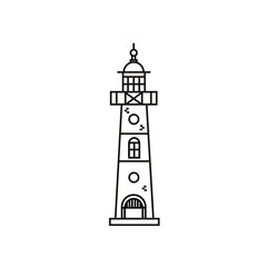 Lighthouse flat line icon in minimalist design. Vector illustration of beacon on isolated white background.