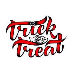 Trick or treat. Halloween. Vector illustration on a white background. Lettering composition, great for holiday gift card.