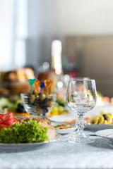 Banquet table in a restaurant, a wedding in Ukraine, set