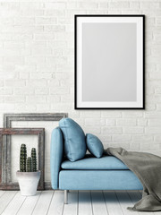 Hipster Living room concept with mock up poster, white brick wall and blue sofa, 3d illustration