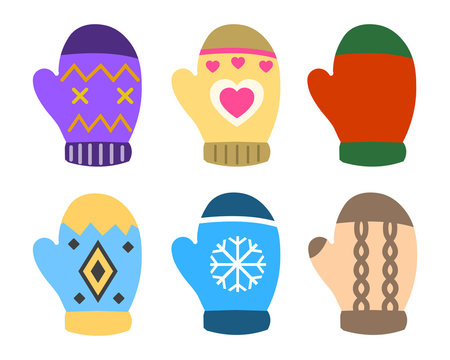 Collection of color mittens with bright geometric ornament. Flat design Vector Illustration EPS