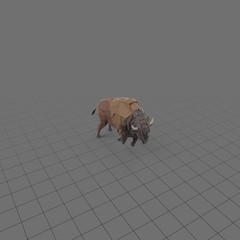 Stylized bison charging