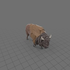 Stylized bison running