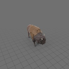 Stylized bison standing