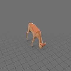 Stylized fawn eating