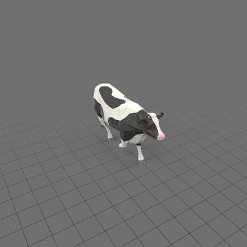 Stylized cow running