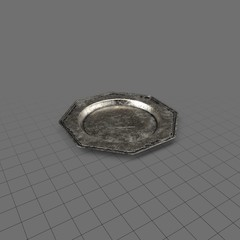 Octagon pewter dish