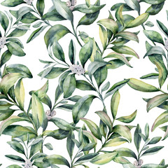 Watercolor winter floral pattern. Hand painted snowberry branch