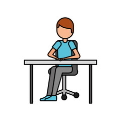 cartoon man sitting on chair with table