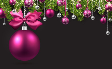 Grey background with pink Christmas ball.