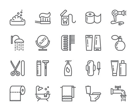 Personal hygiene pixel perfect line icons. Set of elements of shower, soap, bathroom, toilet, toothbrush and other cleaning pictograms. Vector illustration
