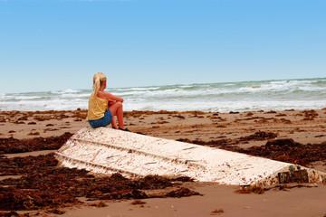 Girl On White Boat