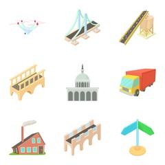 Way to city center icons set, cartoon style