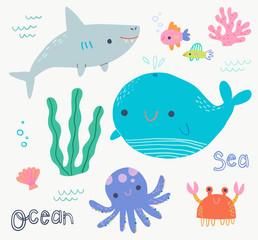 Cute Ocean Animal clip art set
