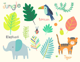 Cute jungle animal clip art set