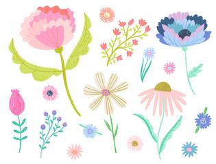 Pretty vector flower clip art set