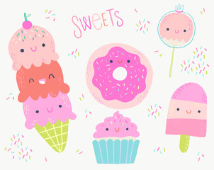 Sweet Desserts Vector Illustration Clip Art Set
