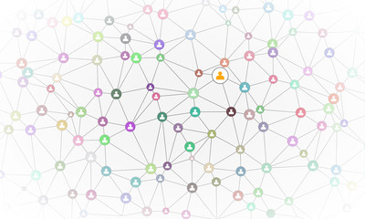 Social Media Circles with person icon. Network connections Illustration. Business illustraion