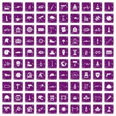 100 helmet icons set grunge purple