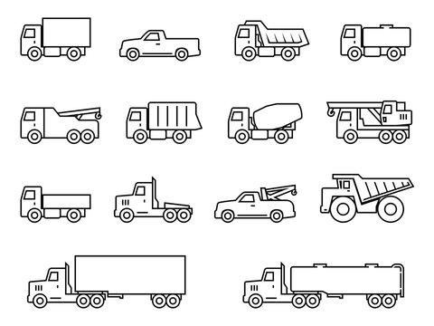 Trucks line icons set