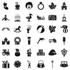 Elephant icons set, simple style