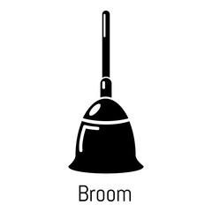 Broom icon, simple black style