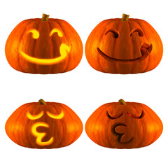 3D Rendering of Jack O Lantern or Halloween Pumpkin Head With 2 Difference Type of Hungry and whistle Isolated White Background.