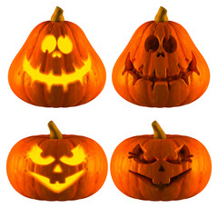 3D Rendering of Jack O Lantern or Halloween Pumpkin Head With 2 Difference Type of Crazy and sweet smile Isolated White Background.