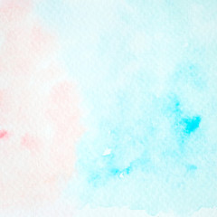 Blue and pink abstract watercolor painting textured on white paper background