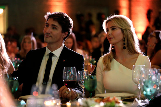 """Canadian Prime Minister Justin Trudeau and Senior White House Advisor Ivanka Trump sit together at the 2017 Fortune magazine's """"Most Powerful Women"""" summit in Washington"""