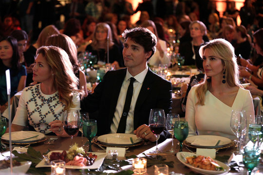 """Canadian Prime Minister Justin Trudeau, his wife Sophie and Senior White House Advisor Ivanka Trump sit together at the 2017 Fortune magazine's """"Most Powerful Women"""" summit in Washington"""