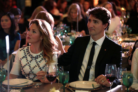 """Sophie Trudeau and Canadian Prime Minister Justin Trudeau sit together at the 2017 Fortune magazine's """"Most Powerful Women"""" summit in Washington"""