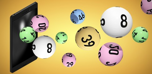 Composite image of 3d image of colorful bingo balls
