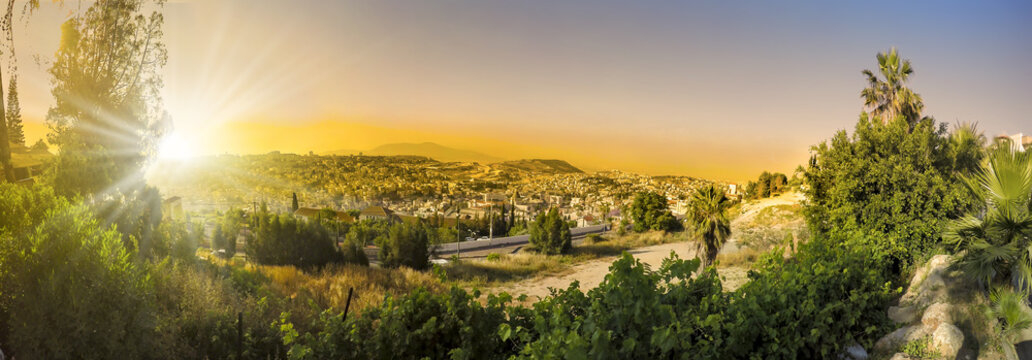 Panorama of Nazareth with Basilica of Annunciation - Israel at sunset