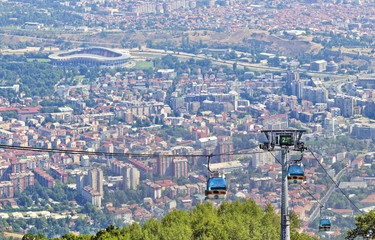 View of Skopje and gondola cabin lift from Vodno mountain