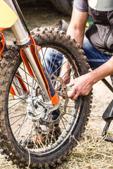 Repair of a sports motorcycle wheel close-up
