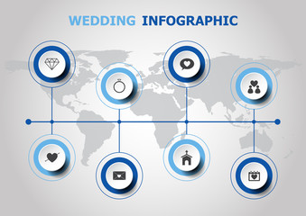 Infographic design with wedding icons