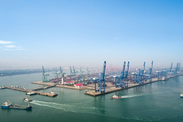 aerial view of tianjin port