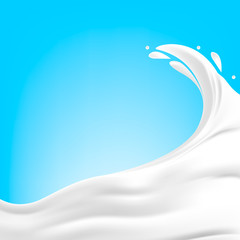 A white splash of milk, cream, yogurt, cream on a blue background. Isolated dairy product. Spray. Vector.