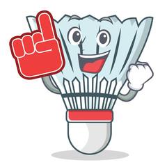Foam finger shuttlecock character cartoon vector