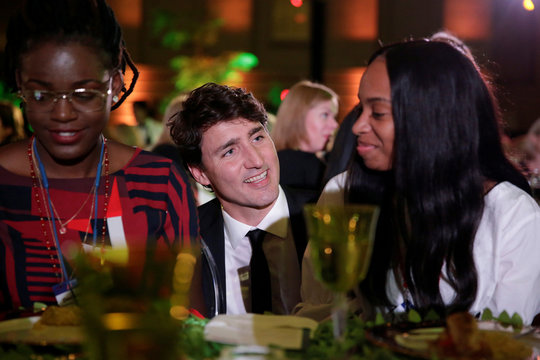 """Canadian Prime Minister Justin Trudeau speaks to high school students at the 2017 Fortune magazine's """"Most Powerful Women"""" summit in Washington"""