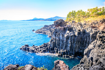 The Daepo Jusangjeolli basalt columnar joints and cliffs on Jeju Island